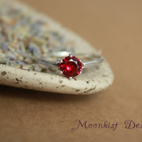 Dark Red Ruby Sterling Silver Solitaire Engagement Ring, Promise Ring, or Birthstone Ring