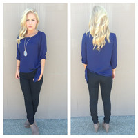 Navy Side Tie 3/4 Sleeve Blouse