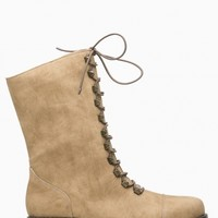 Taupe Faux Leather Lace Up Combat Boots @ Cicihot Boots Catalog:women's winter boots,leather thigh high boots,black platform knee high boots,over the knee boots,Go Go boots,cowgirl boots,gladiator boots,womens dress boots,skirt boots.