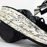 dSLR Camera Strap with Pocket, Vintage Script,  SLR