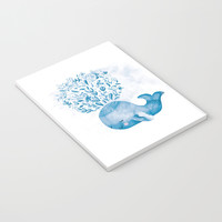 Cute Watercolor Whale Notebook by noondaydesign