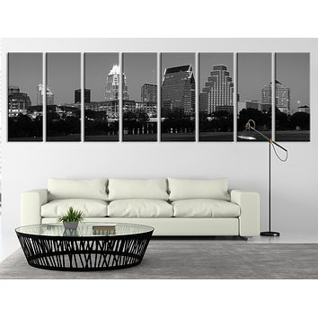 Extra Large Night in Austin Texas Canvas Print Extra Large Austin City Skyline Wall Art Print