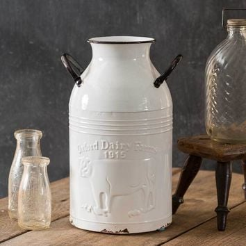 Decorative Farmhouse Country Style Oxford Dairy Farms Milk Can Bottle Container