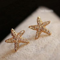 Golden Starfish Full Rhinestone Fashion Earrings - LilyFair Jewelry