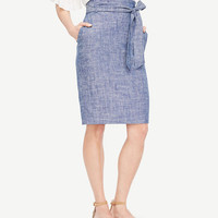 Petite Chambray Paper Bag Skirt | Ann Taylor