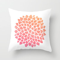 Coral Sea Glass Dahlia Throw Pillow by Color and Form | Society6
