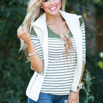 Charm Me with a Smile Puffer Vest Ivory