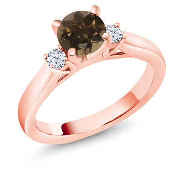 1.02 Ct Round Brown Smoky Quartz 18K Rose Gold Plated Silver 3-Stone Ring