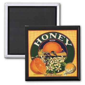 Vintage honey company advertisement magnet