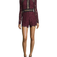 Alexis Eva Long-Sleeve Lace Romper, Plum