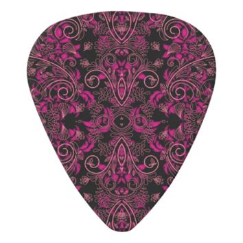 Pink and Black Damask and Vines Guitar Pick