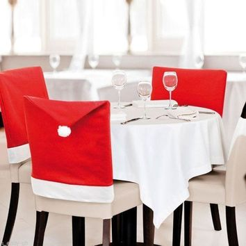 4pcs/lot ! Christmas Chair Covers 50*60cm Christmas Decorations Navidad Adornos Dinner Decor Chair Sets Gift (color: Red) = 1945889668