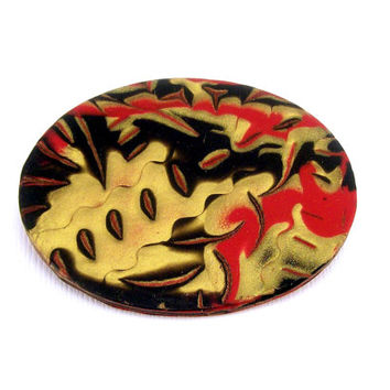 Red Black and Gold Brooch / Polymer Clay Jewelry / Coat Scarf of Purse Pin