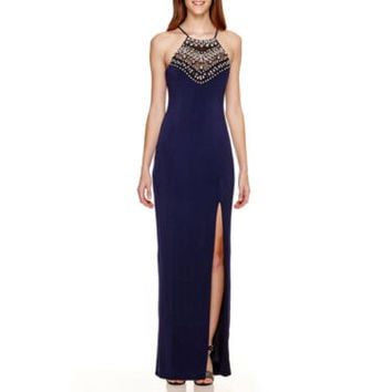 City Triangles® Sleeveless Crochet Halter Knit Long Dress