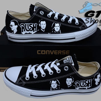 Hand Painted Converse Lo Sneakers. Rush Music Band. Alex, Neil, Geddy.Handpainted shoes.