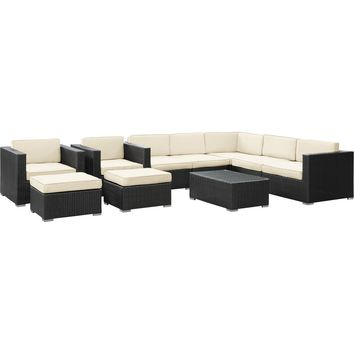 Modern Patio Furniture Avia 10 Piece Sectional Set Espresso White Cushions