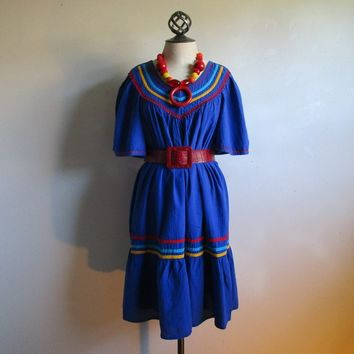 Vintage 70s Blue Oaxaca Style Dress Striped Yellow Red Boho Cotton Ruffle 1970s Summer Resort Dress Small