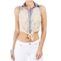 Ivory Sleeveless Collar Tie Front Top