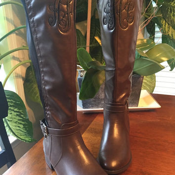 Monogrammed Boots Equestrian Riding Boots Two Toned Boots Black Brown Boots