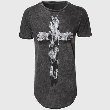Men Tall Longline T Shirts Swag Cross Print Tee Shirts O Neck Oversize Tops Black Vintage Light Wash Pattern Novelty Street Wear
