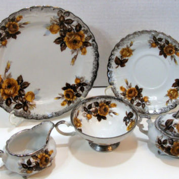 Vintage Porcelain Snack Serving Set 4 Desserts 4 Saucers 4 Tea Cups Cream Sugar Silver Yellow Roses Brown Lot of 14