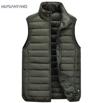 Lightweight White Duck Down Vests Men's Down Vests  Zipper Vest For Male Winter Fashion Sleeveless Coat
