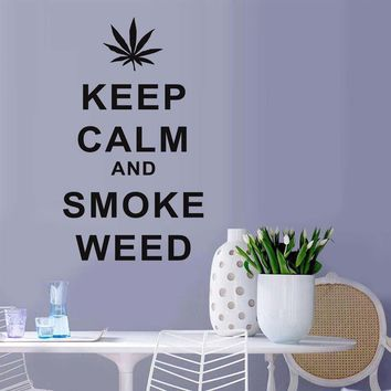 Keep Calm And Smoke Weed Wall Sticker - Vinyl Home Decor Quote Art