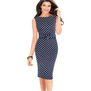 Echoine Summer Style Fashion Plus Size S-5XL Women Midi Dress 3 Colors Sleeveless Vintage Polka Dot Work Office Pencil Dresses