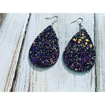 Purple and Gold Glitter Earrings