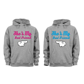 XtraFly Apparel BFF best Friend Valentine's Matching Couples Hooded-Sweatshirt Pullover Hoodie