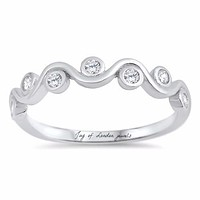 1TCW Russian Lab Diamond Wedding Band Promise Ring