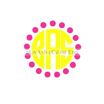 Two Color Polka Dot border Monogram Decal