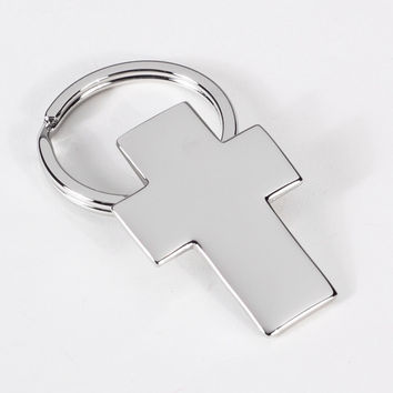 Silver Plated Keyring with Cross.