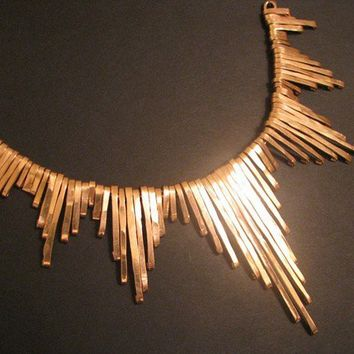 Fringe Collar . Oxidized Copper Tribal Hammered Wire - Egyptian Collar Necklace - handmade copper jewelry
