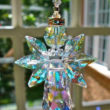 "Angelina AB Gold Trimmed - 6"" Swarovski Crystal Angel - Suncatcher for Home or Car Rear View Mirror"
