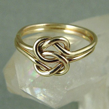 Gold Double Love Knot Ring / Mother Daughter by fallingleafjewelry