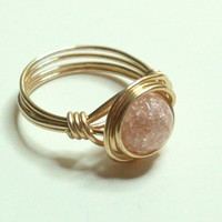 Pink Crackle Rock Crystal and Gold Wire Wrapped Ring
