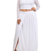 Plus Size Sexy Crop Top Scuba Mesh White Skirt Set, Plus Size Clothing, Club Wear, Dresses, Tops, Sexy Trendy Plus Size Women Clothes