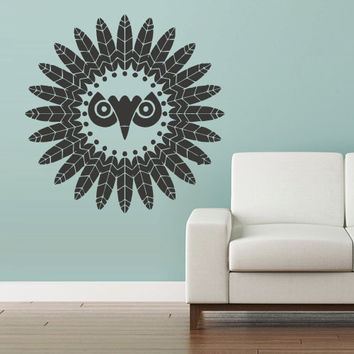 Wall Vinyl Sticker Decals Decor Art Bedroom Design Mural Owl Bird Tattoo Mandala Feathers Symbol Tribal (z2998)