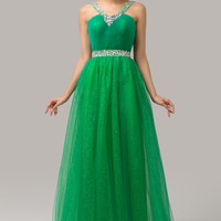 Emerald Green V-Neck Beaded Backless Maxi Dress