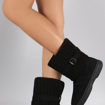 Bamboo Sweater Cuff Buckled Flat Ankle Boots