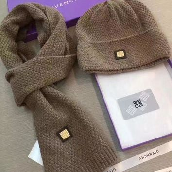 NOV9O2 Givenchy Beanies Winter Knit Hat Cap Cape Scarf Scarves Set Two-Piece
