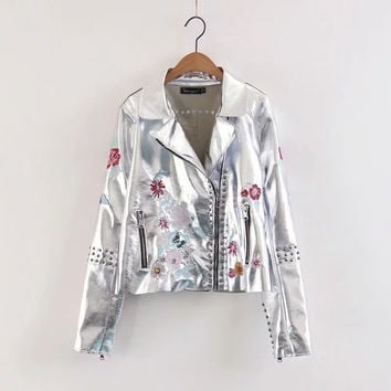 Winter Metal Silver Floral Embroidery Rivet PU Leather Jacket [11515218835]