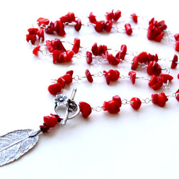Long Silver leaf and Coral Necklace, Silver wire wrapped coral necklace, Silver leaf Pendant long necklace, Red Coral and silver Necklace