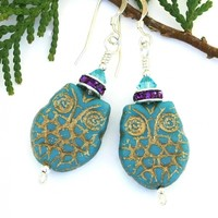 Turquoise Purple Owl Earrings, Czech Glass Swarovski Handmade Jewelry