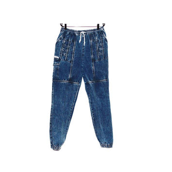 L Denim high waisted large cool comfortable pants women vintage retro denim pants blue sporty 70s pants plus size
