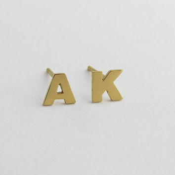 14k Gold Letters Earrings - Initial Earrings - Solid Gold Personalized Jewelry