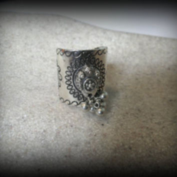 Bohemian jewelry,kuchi jewelry,silver ring,large tribal ring,gypsy ring,afghan jewelry -turkish jewelry-hippie ring