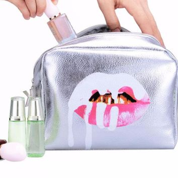 Crazy Pink Lip with Silver Foil Faux Leather Zippered Cosmetic Travel Bag
