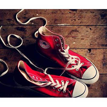 """Converse"" Trending Fashion Women Men canvas single shoes sports shoes sports shoes High Tops Red G"